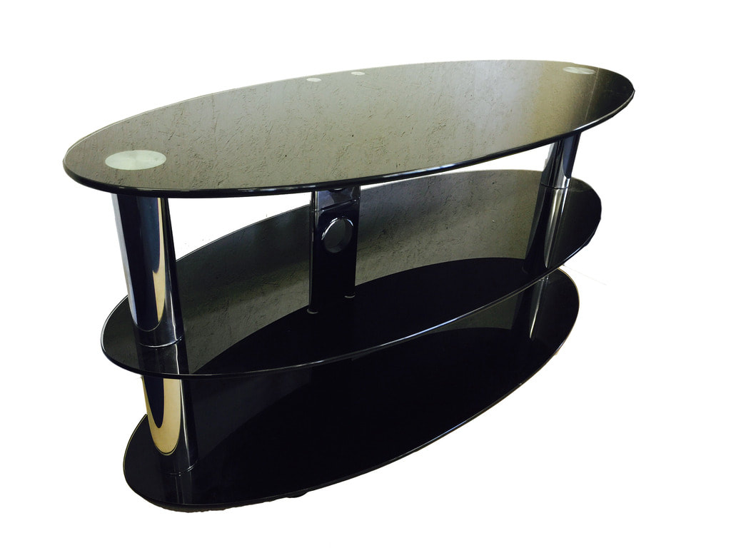 For Sale Nearly New Oval Black Glass And Chrome Tv Stand For Tvs